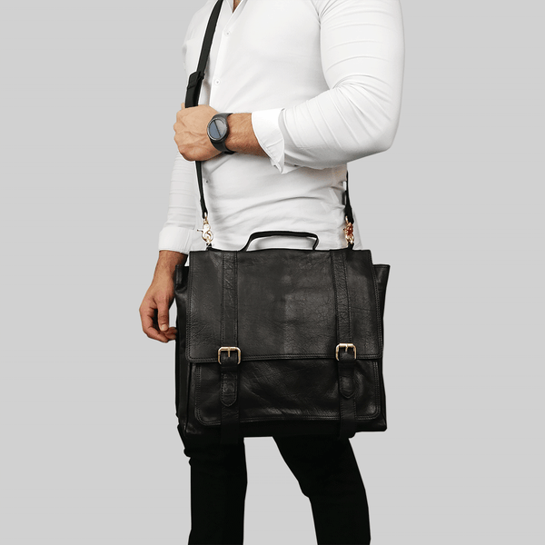 'ARDEN' Black Vintage Leather Flap-over Satchel Bag