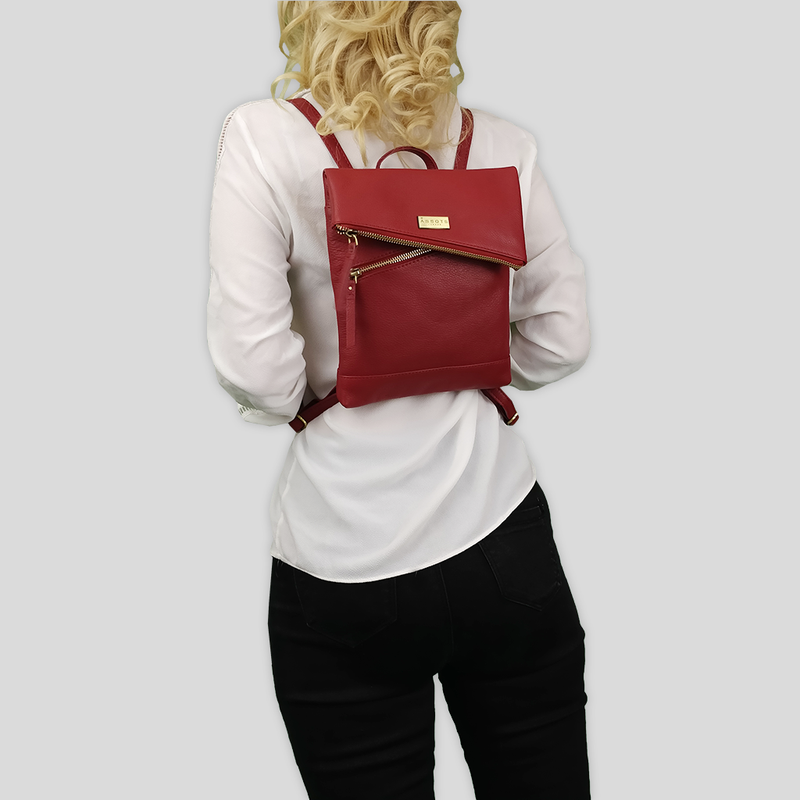 'SIERRA' Paprika Red Pebble Grain Leather Mini Flap Over Backpack