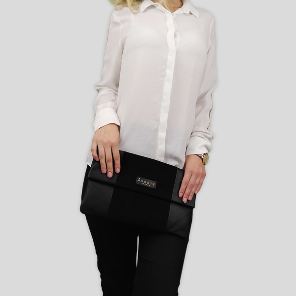 'CHELSEA' Black Designer Leather Flap-over Oversized Clutch Bag