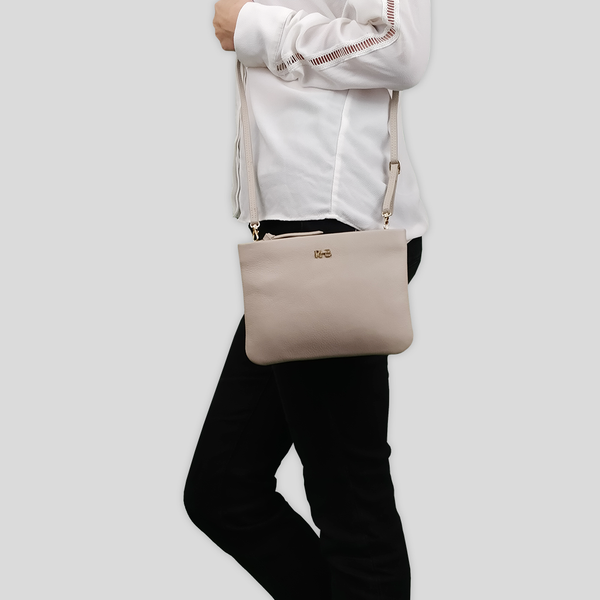 'SOPHIA' Shell Nude Pebble Grain Zip Top Leather Crossbody Bag