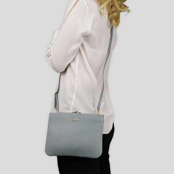 'SOPHIA' Cameo Blue Pebble Grain Zip Top Leather Crossbody Bag