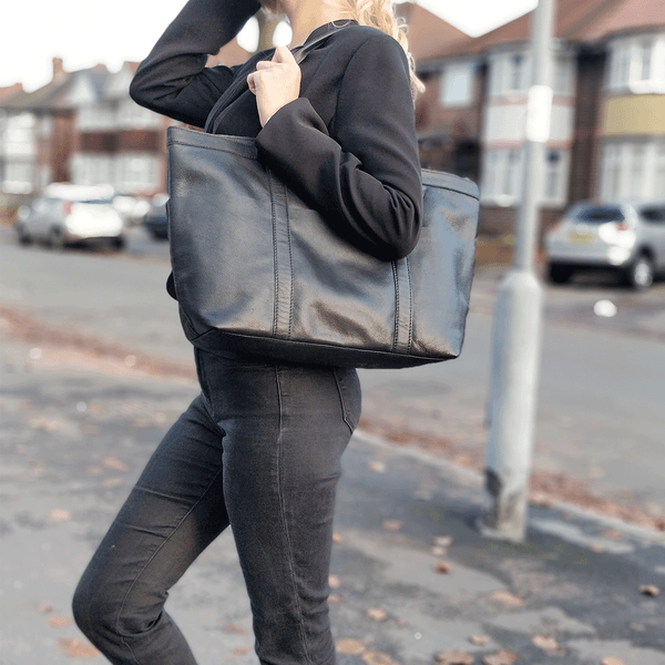 'ALICE' Black Semi Soft Full Grain Oversized Leather Shopper Bag