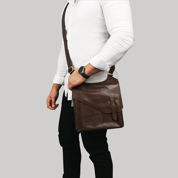 'LILY' Dark Brown Vintage Leather Crossbody Bag
