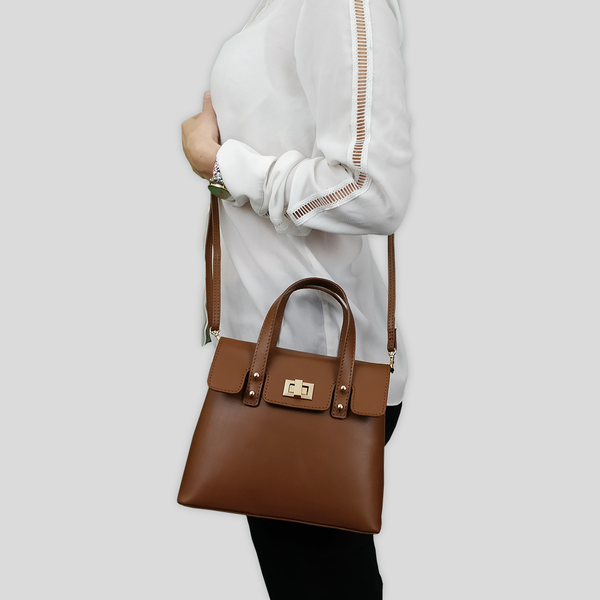 'Bentley' Tan Smooth Leather Mini Grab Bag