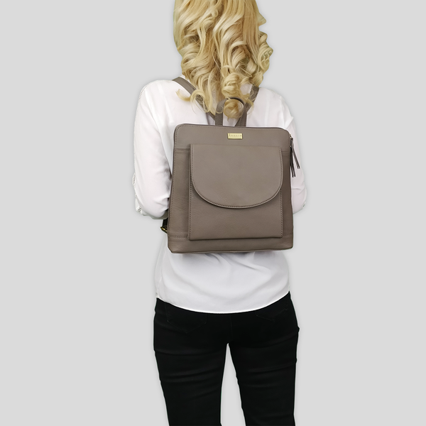 'Apple' Mink Grey Two Way Zip Top Lightweight Leather Backpack