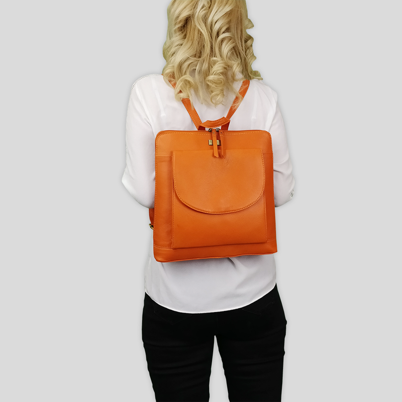 'Apple' Sunset Orange Two Way Zip Top Lightweight Leather Backpack