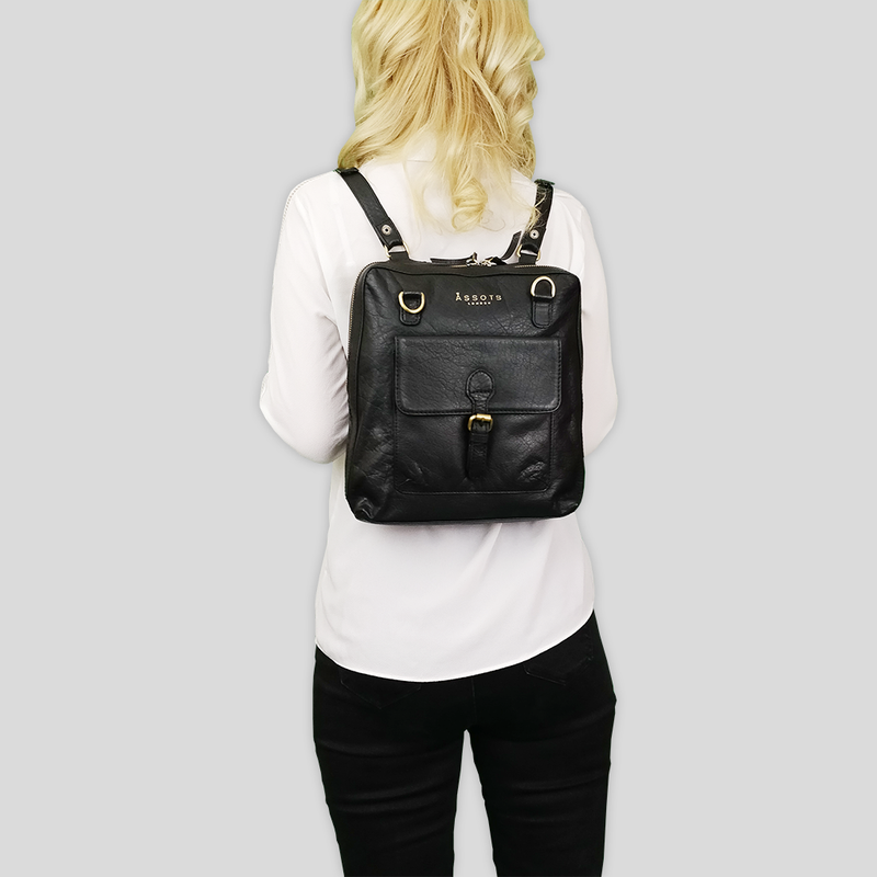 'BRENT' Black Vintage Leather Zip Around Backpack