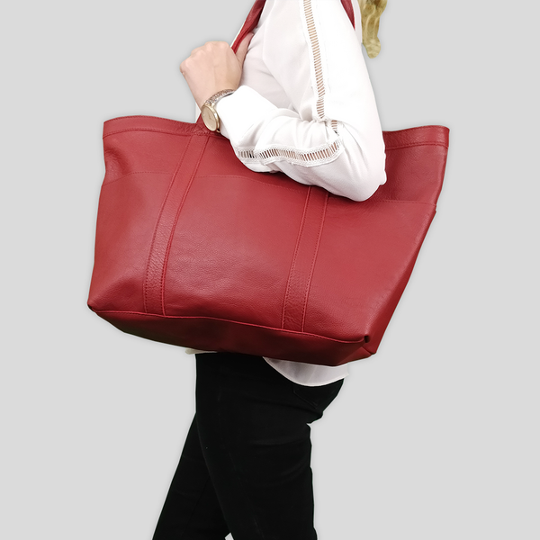 'ALICE' Paprika Red Semi Soft Full Grain Oversized Unlined Leather Shopper Bag