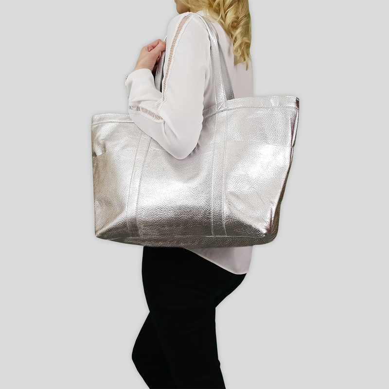 'ALICE' Silver Metallic Semi Soft Full Grain Oversized Leather Shopper Bag