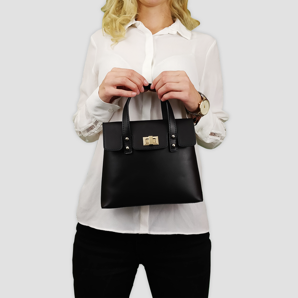 'Bentley' Black Smooth Leather Mini Grab Bag