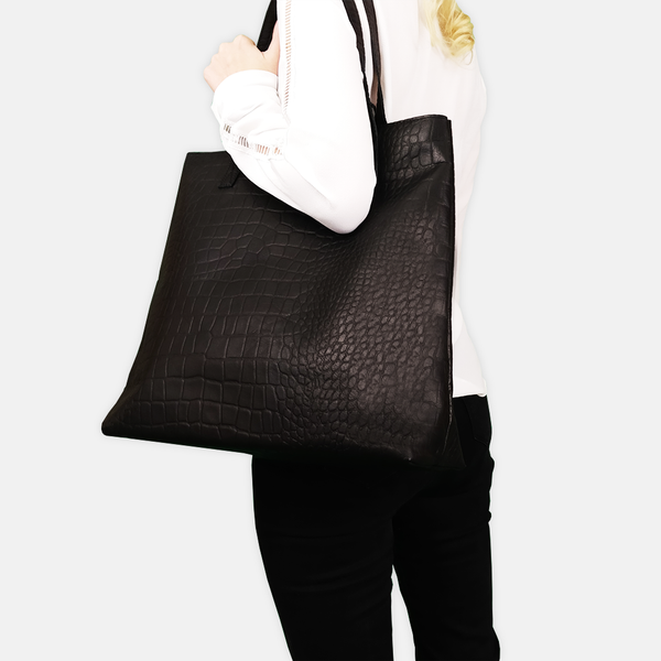 'FREYA' Black Semi Structured Unlined Croc Leather Tote Bag