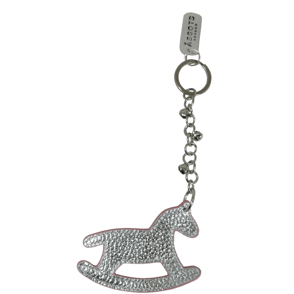 'WOOD HORSE' - Super Cute Silver Metallic Leather Key Ring Holder