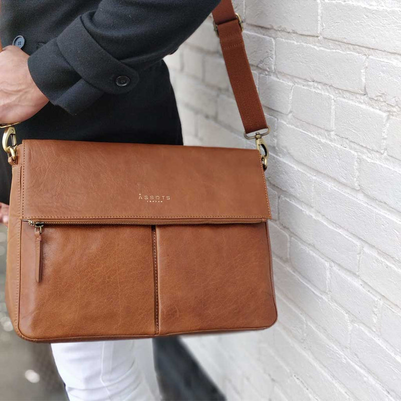 'ALBERT' - Dark Tan Vintage Leather Flap-over Satchel Bag