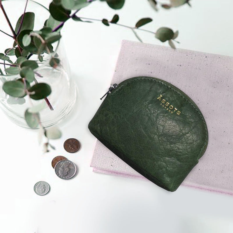 'LOTTY' Tree Top Green Soft Small Leather Coin Pouch