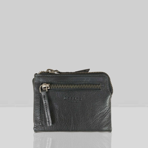 'Abbey' Black Bifold RFID Protected Leather Zip-Top Coin Purse
