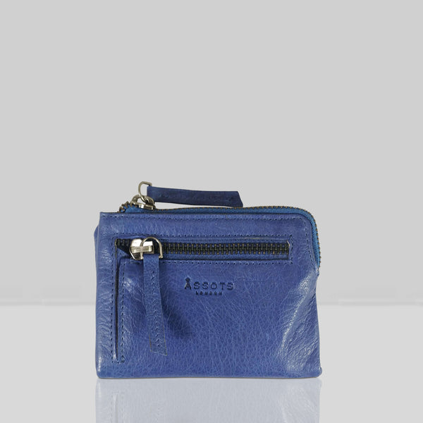 'Abbey' Blue Iris Bifold RFID Protected Leather Zip-Top Coin Purse