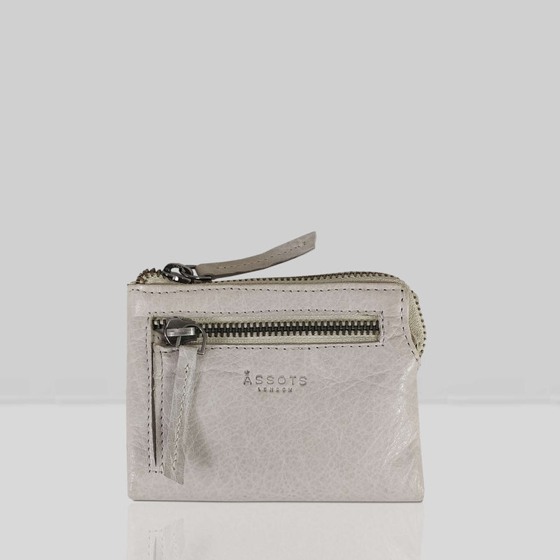 'Abbey' Chalk Grey Bifold RFID Protected Leather Zip-Top Coin Purse