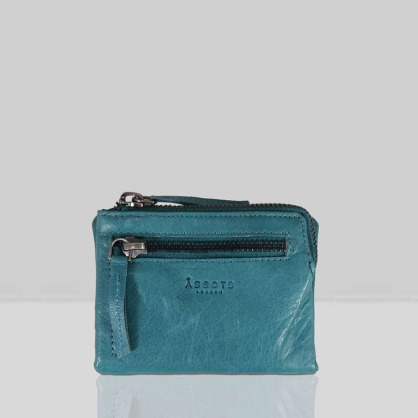 'Abbey' Ocean Blue Bifold RFID Protected Leather Zip-Top Coin Purse