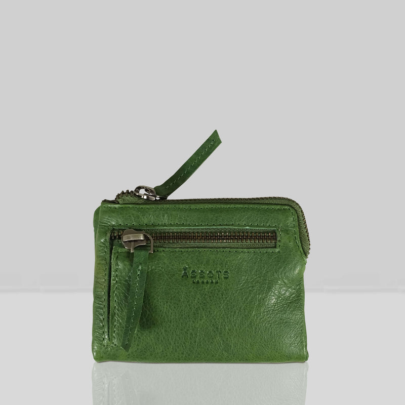 'Abbey' Tree Top Green Bifold RFID Protected Leather Zip-Top Coin Purse