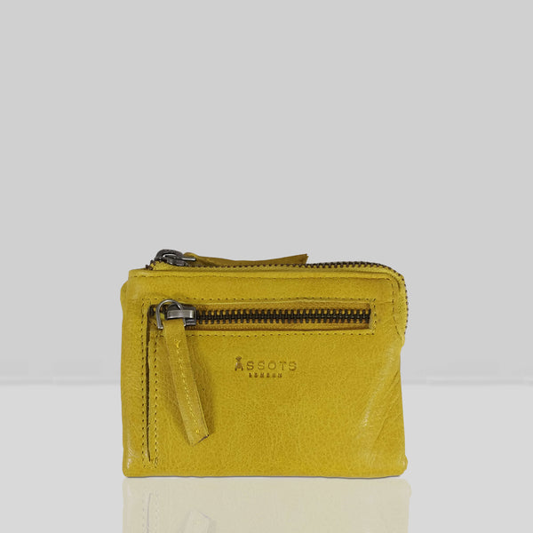 'Abbey' Yellow Bifold RFID Protected Leather Zip-Top Coin Purse