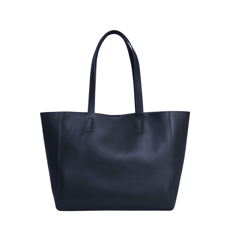 'ABINGDON' Navy Real Leather Unlined Designer Tote Bag