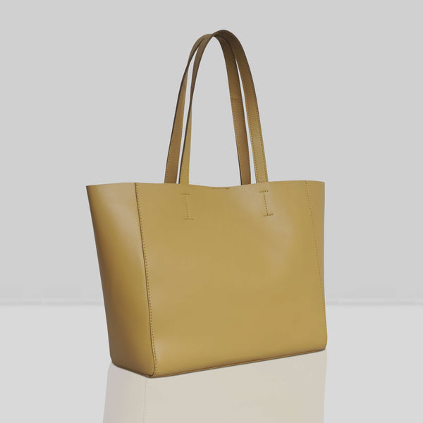 'ABINGDON' Mustard Real Leather Unlined Designer Tote Bag