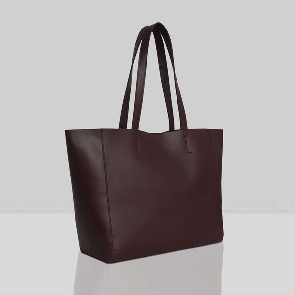 'ABINGDON' Burgundy Real Leather Unlined Designer Tote Bag