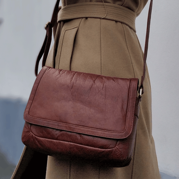 'ACTON' Tan Vintage Waxed Leather Tablet Crossbody Sling Bag