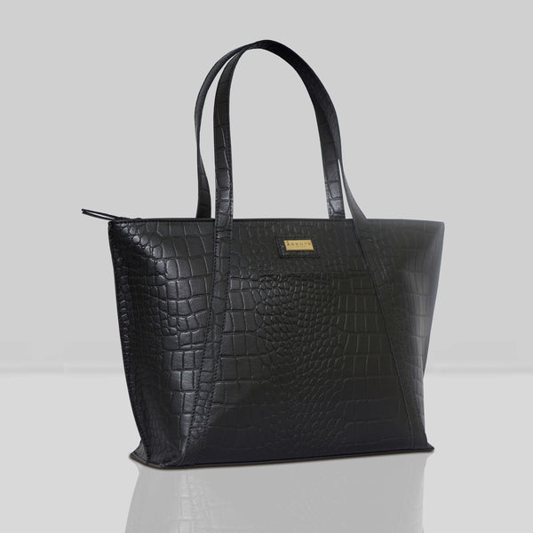 'AGNES' Black Vintage Croc Real Leather Designer Tote Bag