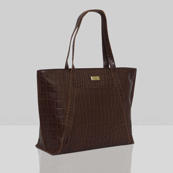 'AGNES' Brown Vintage Croc Real Leather Designer Tote Bag