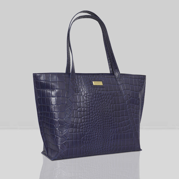 'AGNES' Navy Vintage Croc Real Leather Designer Tote Bag