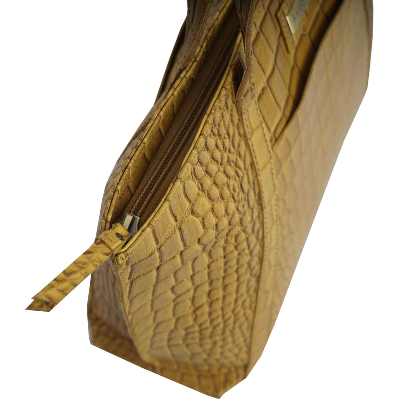 'AGNES' Ochre Mustard Vintage Croc Real Leather Designer Tote Bag