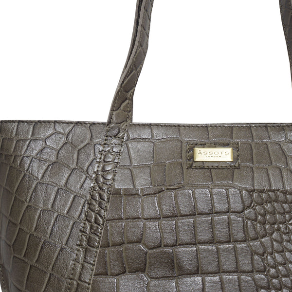 'AGNES' Olive Green Vintage Croc Real Leather Designer Tote Bag