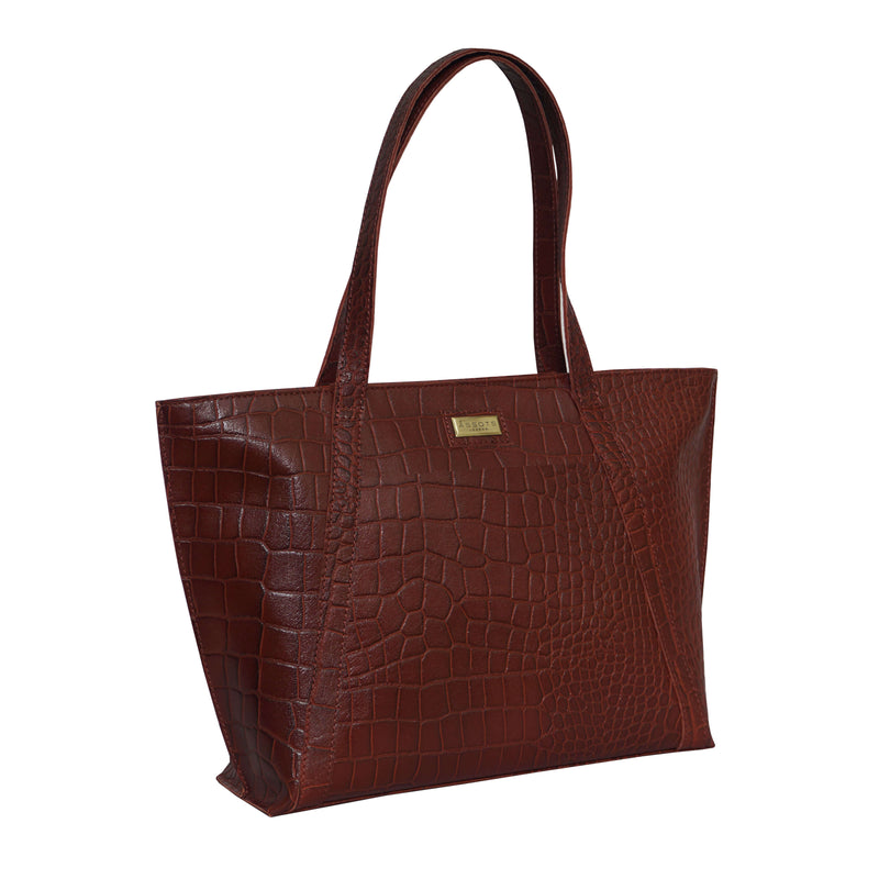 'AGNES' Red Vintage Croc Real Leather Designer Tote Bag