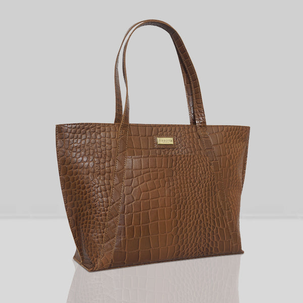 'AGNES' Tan Vintage Croc Real Leather Designer Tote Bag