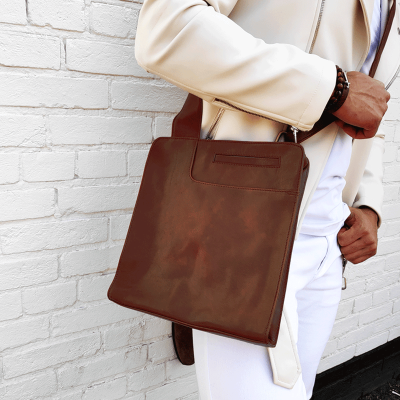 'ALAN' - Brown Vintage Waxed Leather Crossbody Sling Tablet Bag