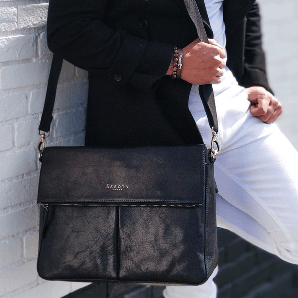 'ALBERT' Black Vintage Leather Flap-over Satchel Bag