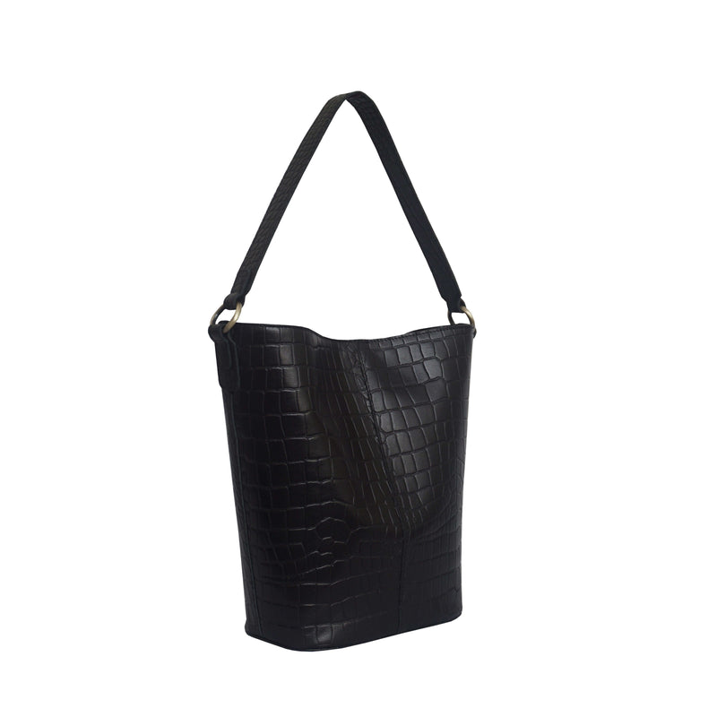 'AMELIA' Black Real Croc Leather Large Capacity Bucket Bag