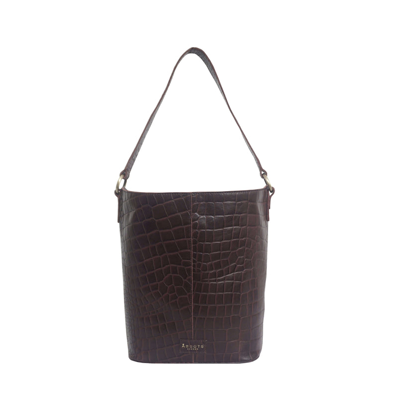 'AMELIA' Burgundy Real Croc Leather Large Capacity Bucket Bag