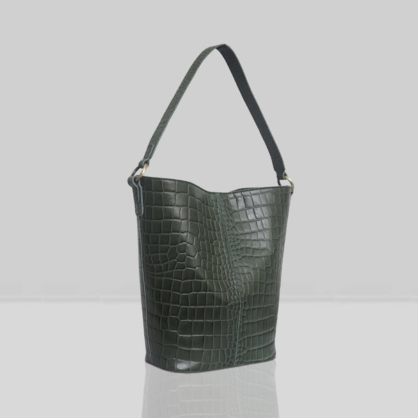 'AMELIA' Khaki Real Croc Leather Large Capacity Bucket Bag