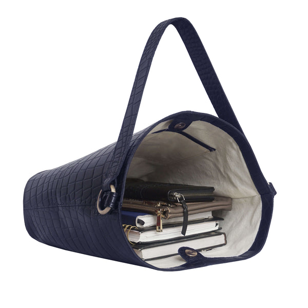 'AMELIA' Navy Real Croc Leather Large Capacity Bucket Bag