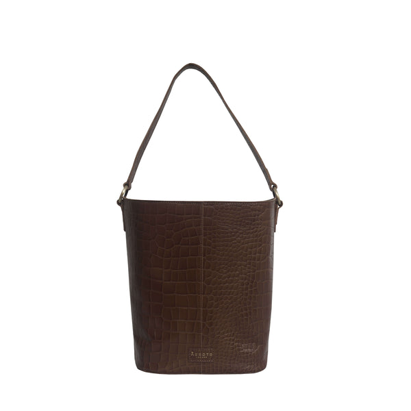 'AMELIA' Tan Real Croc Leather Large Capacity Bucket Bag