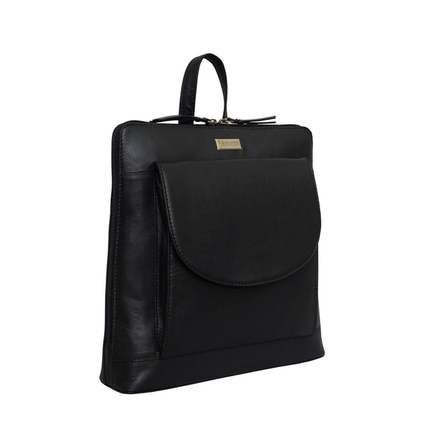 'APPLE' Black Two Way Zip Top Lightweight Leather Backpack