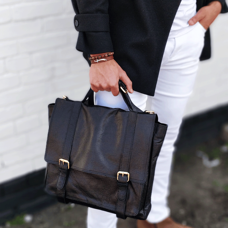 'ARDEN' - Black Vintage Leather Flap-over Satchel Bag