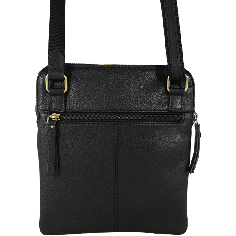 'ELSIE' Black Nappa Leather Zip Top Crossbody Bag