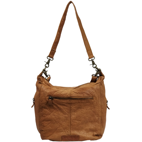 'JAMES' - Cognac Washed Vintage Leather Shoulder Bag