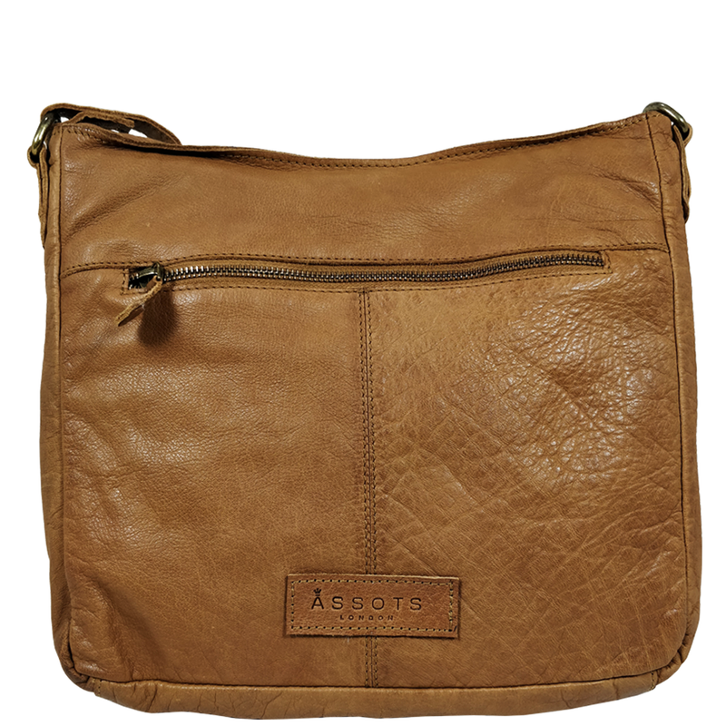 'WYNDRELL' Cognac Washed Vintage Leather Shoulder Bag