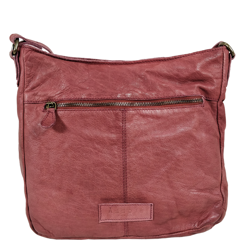 'WYNDRELL' Red Washed Vintage Leather Shoulder Bag