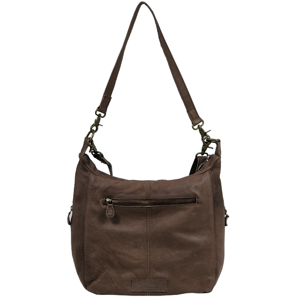 'JAMES' -  Dark Brown Washed Vintage Leather Shoulder Bag