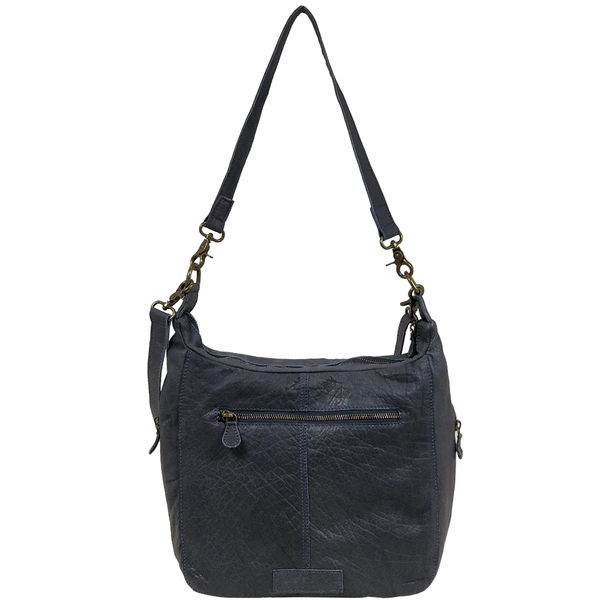 'JAMES' -  Navy Washed Vintage Leather Shoulder Bag
